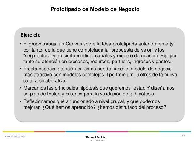 Prototipado de Modelo de Negocio  Ejercicio • El grupo trabaja un Canvas sobre la Idea prototipada anteriormente (y por ta...