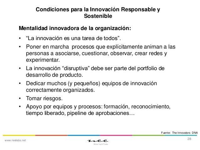 """Condiciones para la Innovación Responsable y Sostenible Mentalidad innovadora de la organización: • """"La innovación es una ..."""