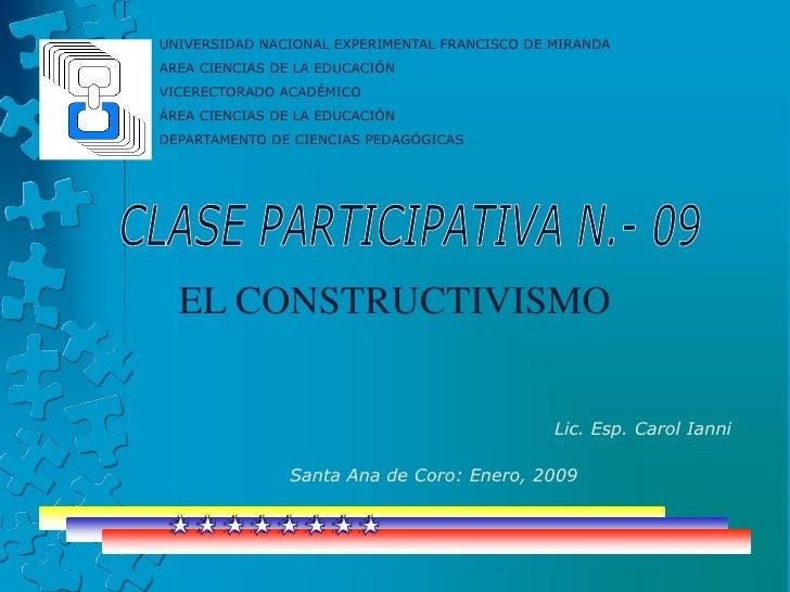 UNIVERSIDAD NACIONAL EXPERIMENTAL FRANCISCO DE MIRANDA<br />AREA CIENCIAS DE LA EDUCACIÓN<br />VICERECTORADO ACADÉMICO <br...