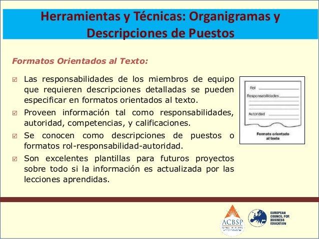  Representación gráfica de losmiembros del equipo de proyecto ysus relaciones de reporte. Puede ser formal o informal,al...