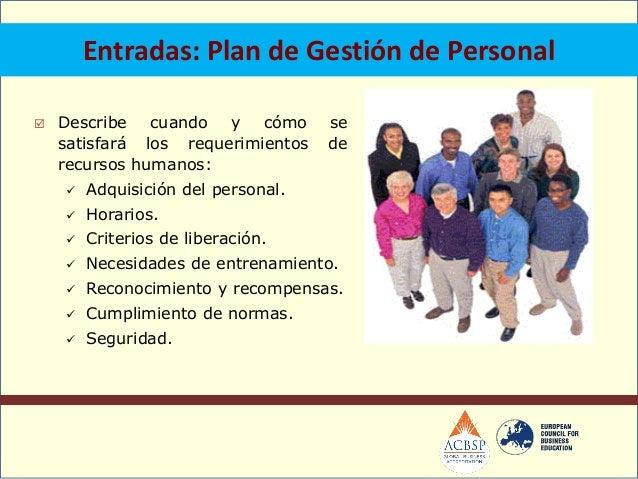 Salidas: Asignaciones del personal del proyecto. Disponibilidad de recursos. Plan de gestión de personal.Adquisición de...