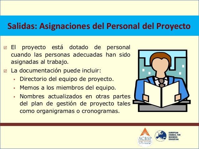 Entradas: Asignaciones del personal del proyecto. Plan de gestión de personal. Disponibilidad de recursos.Desarrollo de...
