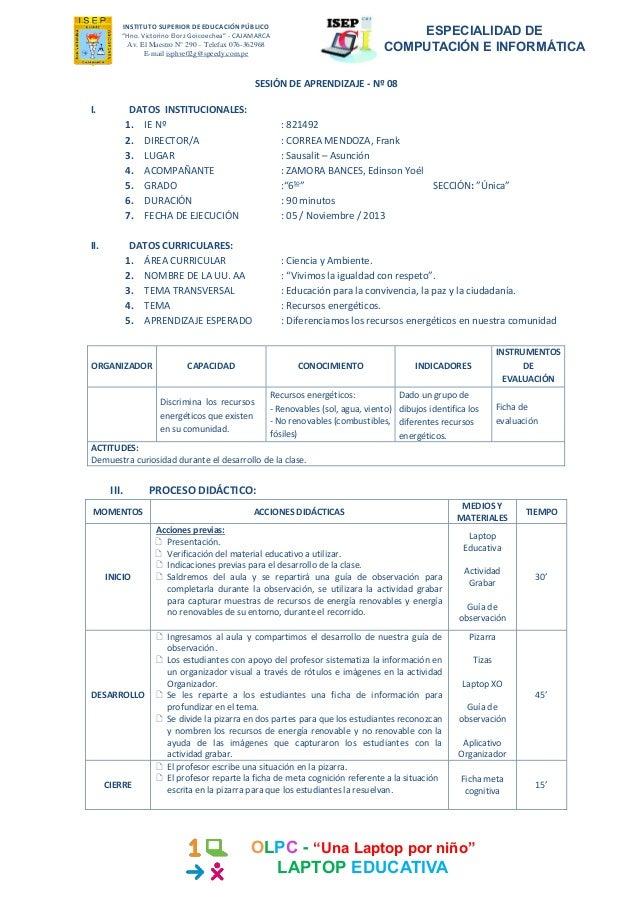 """INSTITUTO SUPERIOR DE EDUCACIÓN PÚBLICO """"Hno. Victorino Elorz Goicoechea"""" - CAJAMARCA Av. El Maestro N° 290 – Telefax 076-..."""
