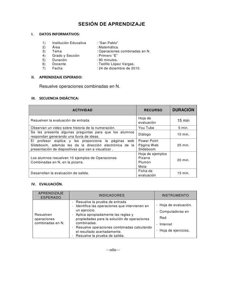 """SESIÓN DE APRENDIZAJE<br />DATOS INFORMATIVOS:<br />Institución Educativa: """"San Pablo""""<br />Área: Matemática.<br />Tema: O..."""