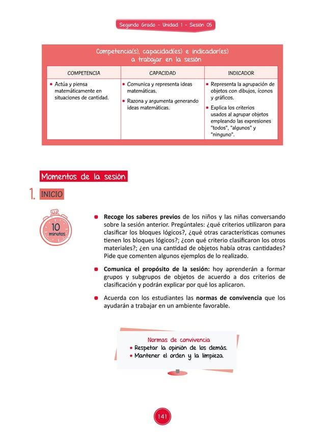 141 Segundo Grado - Unidad 1 - Sesión 05 Competencia(s), capacidad(es) e indicador(es) a trabajar en la sesión COMPETENCIA...