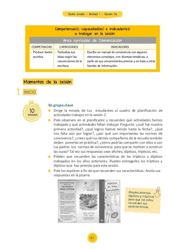 Sexto Grado - Unidad 1 - Sesión 06 10minutos INICIO Momentos de la sesión 1. Competencia(s), capacidad(es) e indicador(es)...