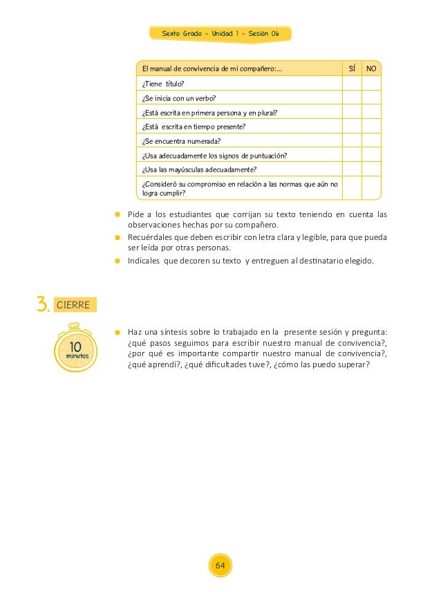 Sexto Grado - Unidad 1 - Sesión 06 El manual de convivencia de mi compañero:… SÍ NO ¿Tiene título? ¿Se inicia con un verbo...