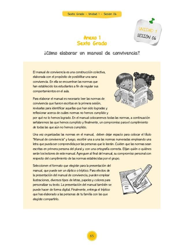 Sexto Grado - Unidad 1 - Sesión 06 Anexo 1 Sexto Grado ¿Cómo elaborar un manual de convivencia? UNIDAD 1 SESIÓN 06 El manu...