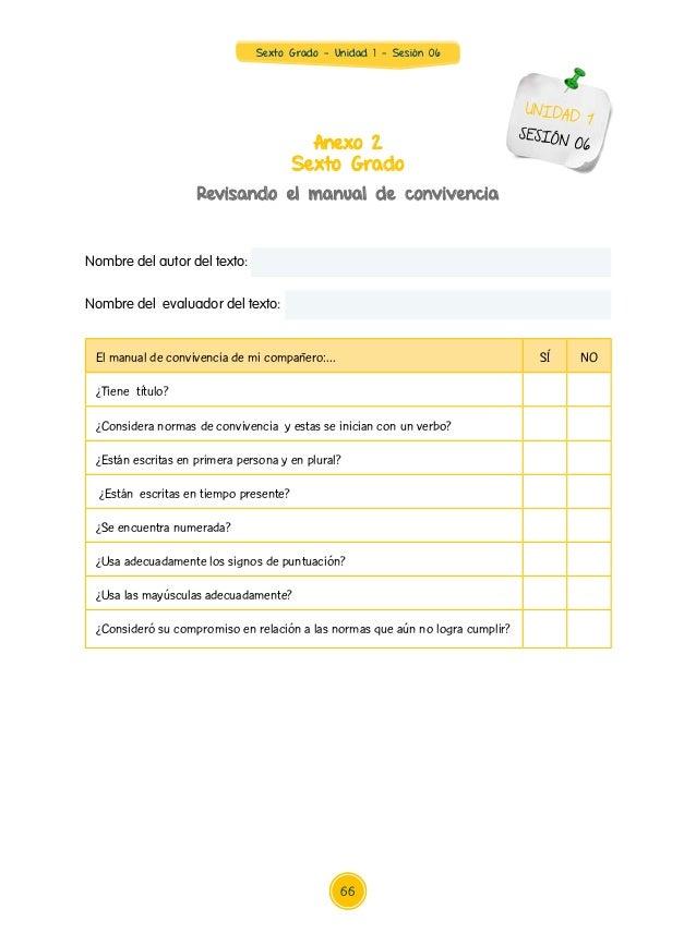 Sexto Grado - Unidad 1 - Sesión 06 Nombre del autor del texto: Nombre del evaluador del texto: Anexo 2 Sexto Grado Revisan...