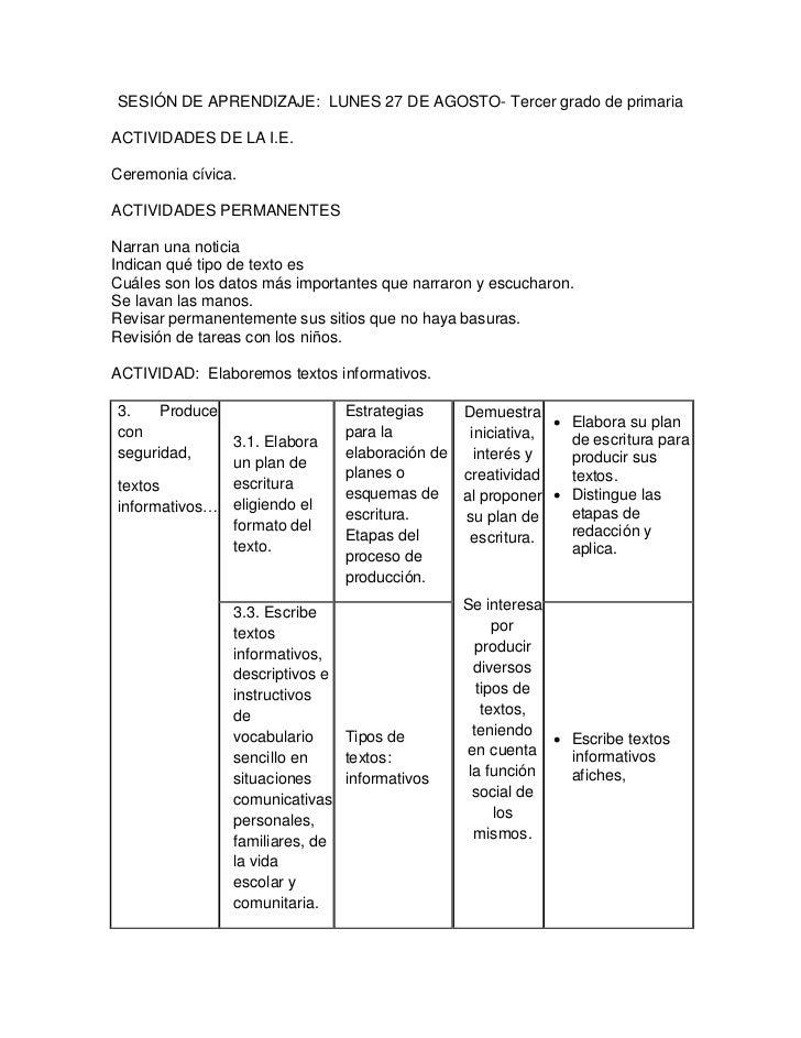 SESIÓN DE APRENDIZAJE: LUNES 27 DE AGOSTO- Tercer grado de primariaACTIVIDADES DE LA I.E.Ceremonia cívica.ACTIVIDADES PERM...