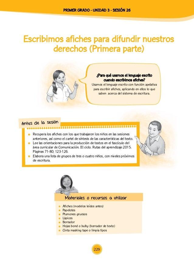 Escribimos afiches para difundir nuestros derechos (Primera parte)  Afiches (modelos leídos antes) Papelotes  Plumones ...