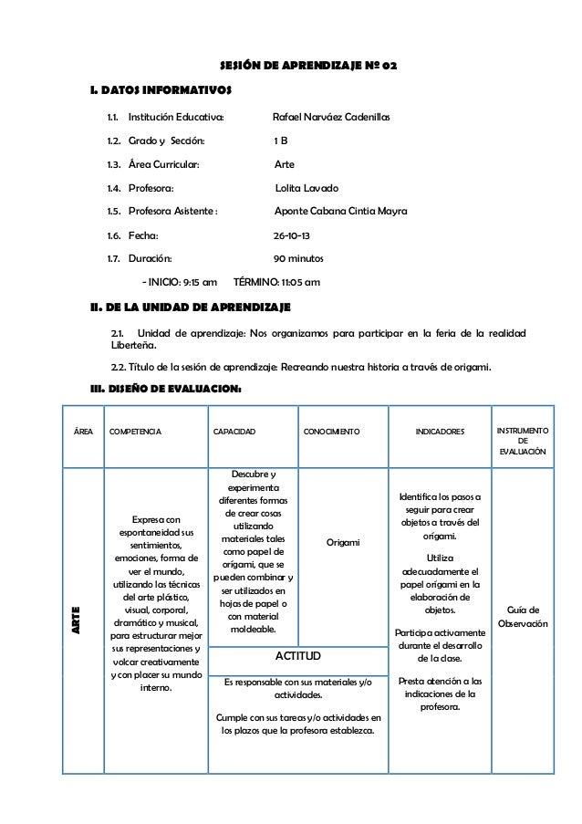 SESIÓN DE APRENDIZAJE Nº 02 I. DATOS INFORMATIVOS 1.1. Institución Educativa:  Rafael Narváez Cadenillas  1.2. Grado y Sec...
