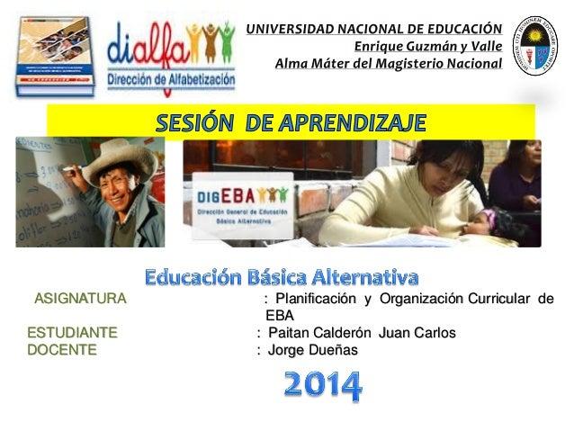 ASIGNATURA : Planificación y Organización Curricular de EBA ESTUDIANTE : Paitan Calderón Juan Carlos DOCENTE : Jorge Dueñas
