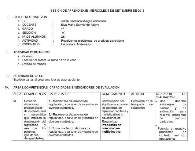 """SESIÓN DE APRENDIZAJE MIÉRCOLES 5 DE SETIEMBRE DE 2013 I. DATOS INFORMATIVOS a. I.E. : 40207 """"mariano Melgar Valdivieso"""" b..."""