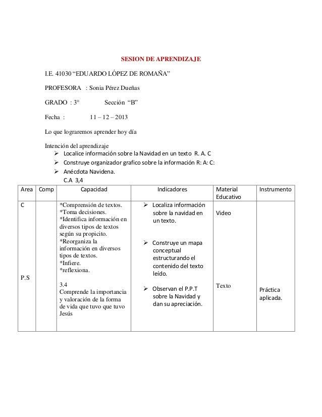 """SESION DE APRENDIZAJE I.E. 41030 """"EDUARDO LÓPEZ DE ROMAÑA"""" PROFESORA : Sonia Pérez Dueñas GRADO : 3° Fecha :  Sección """"B"""" ..."""