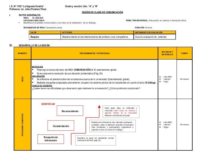 """I. E. Nº 1105 """"La Sagrada Familia""""                                          Grado y sección: 2do. """"A"""" y """"B""""Profesora: Lic...."""