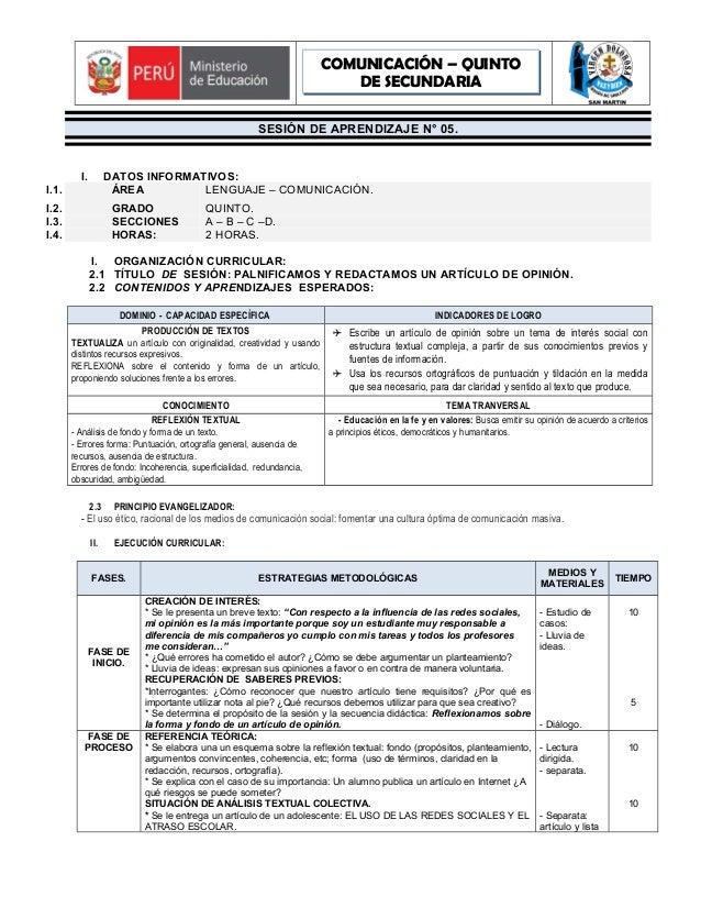COMUNICACIÓN – QUINTO DE SECUNDARIA SESIÓN DE APRENDIZAJE N° 05.  I.  DATOS INFORMATIVOS: ÁREA LENGUAJE – COMUNICACIÓN.  I...