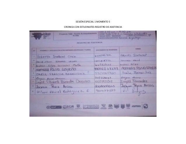 SESIÓN ESPECIAL 1 MOMENTO 5 CRONICA CON ESTUDINATES-REGISTRO DE ASISTENCIA