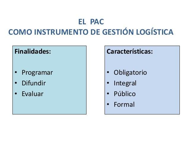 EL PAC COMO INSTRUMENTO DE GESTIÓN LOGÍSTICA Finalidades: • Programar • Difundir • Evaluar Características: • Obligatorio ...