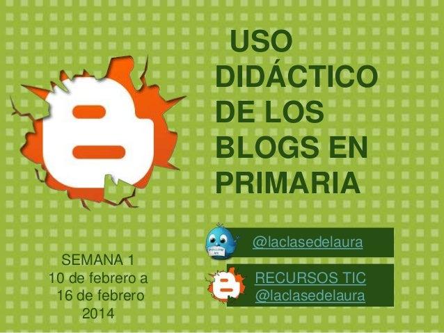 USO DIDÁCTICO DE LOS BLOGS EN PRIMARIA @laclasedelaura  SEMANA 1 10 de febrero a 16 de febrero 2014  RECURSOS TIC @laclase...