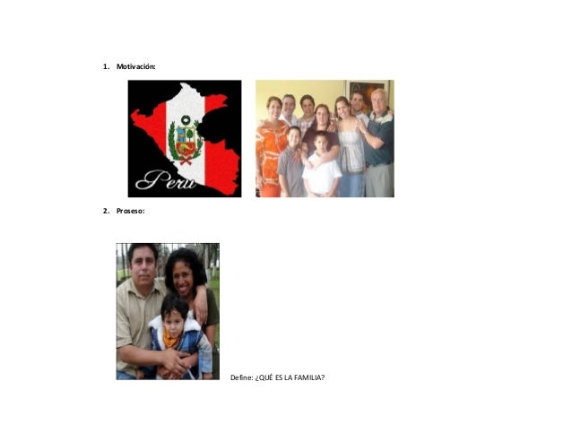 1. Motivación:  2. Proseso:  Define: ¿QUÉ ES LA FAMILIA?