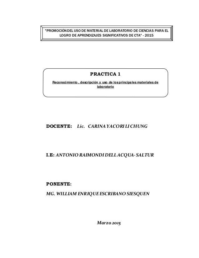DOCENTE: Lic. CARINA YACORILICHUNG I.E: ANTONIO RAIMONDIDELL ACQUA-SALTUR PONENTE: MG. WILLIAM ENRIQUEESCRIBANO SIESQUEN M...