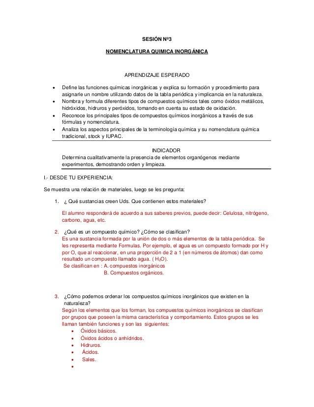 SESIÓN Nº3 NOMENCLATURA QUIMICA INORGÁNICA APRENDIZAJE ESPERADO  Define las funciones químicas inorgánicas y explica su f...