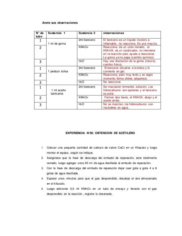 Anote sus observaciones EXPERIENCIA N°05: OBTENCION DE ACETILENO 1. Colocar una pequeña cantidad de carburo de calcio CaC2...