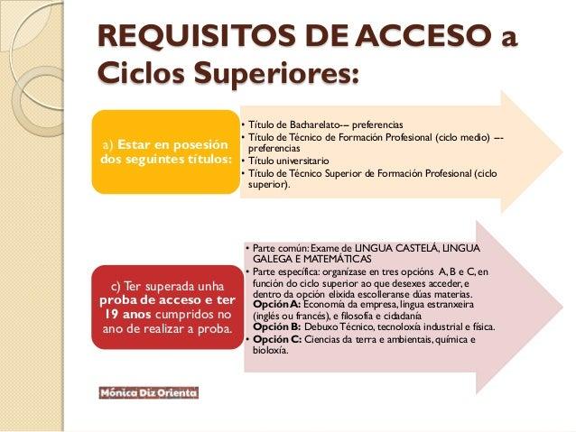 REQUISITOS DE ACCESO a Ciclos Superiores: • Título de Bacharelato--- preferencias • Título deTécnico de Formación Profesio...