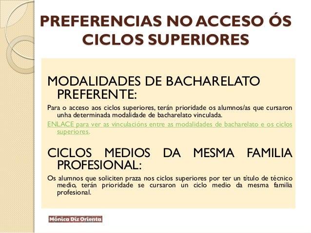 PREFERENCIAS NO ACCESO ÓS CICLOS SUPERIORES MODALIDADES DE BACHARELATO PREFERENTE: Para o acceso aos ciclos superiores, te...