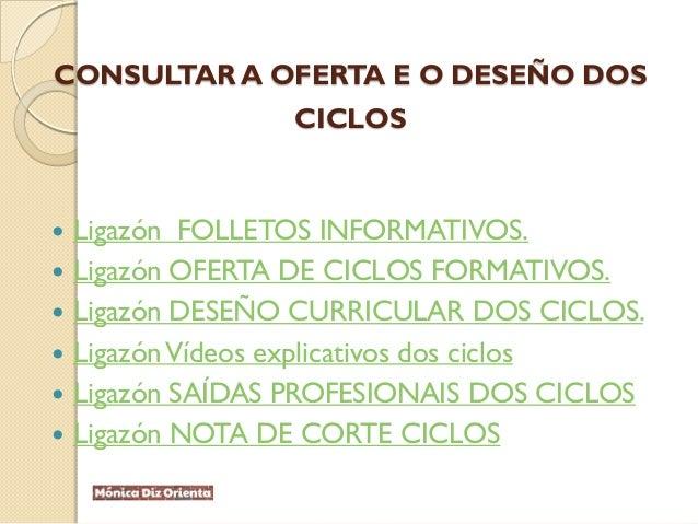 CONSULTAR A OFERTA E O DESEÑO DOS CICLOS  Ligazón FOLLETOS INFORMATIVOS.  Ligazón OFERTA DE CICLOS FORMATIVOS.  Ligazón...