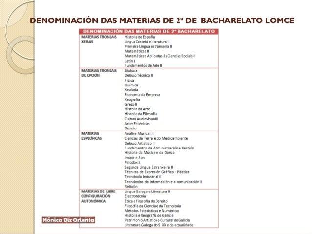 DENOMINACIÓN DAS MATERIAS DE 2º DE BACHARELATO LOMCE