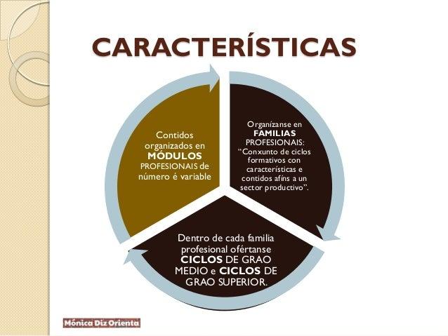 """CARACTERÍSTICAS Organízanse en FAMILIAS PROFESIONAIS: """"Conxunto de ciclos formativos con características e contidos afíns ..."""