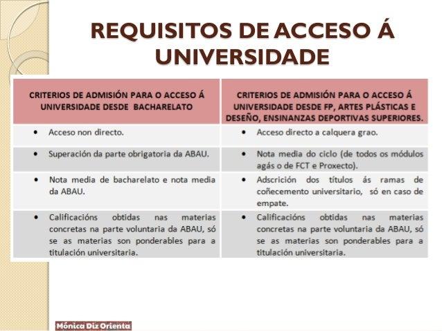 REQUISITOS DE ACCESO Á UNIVERSIDADE