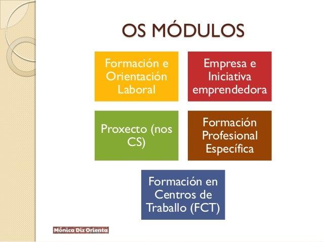 OS MÓDULOS Formación e Orientación Laboral Empresa e Iniciativa emprendedora Proxecto (nos CS) Formación Profesional Espec...