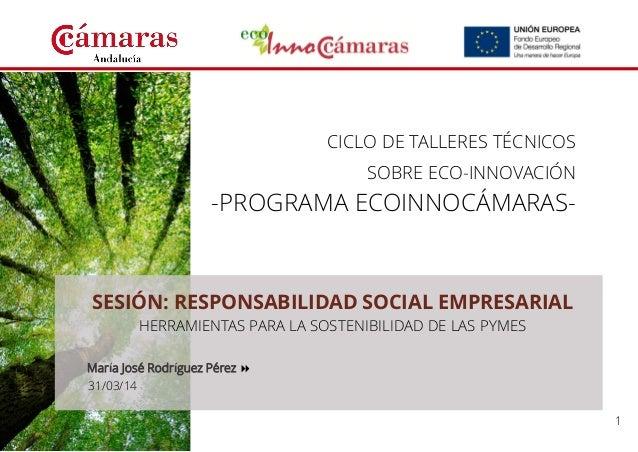 1  CICLO DE TALLERES TÉCNICOS  SOBRE ECO-INNOVACIÓN  -PROGRAMA ECOINNOCÁMARAS-  SESIÓN: RESPONSABILIDAD SOCIAL EMPRESARIAL...