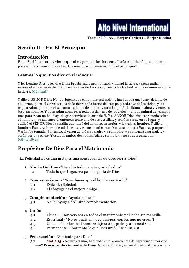 Formar Líderes – Forjar Carácter – Forjar Destino  Sesión II - En El Principio Introducción En la Sesión anterior, vimos q...