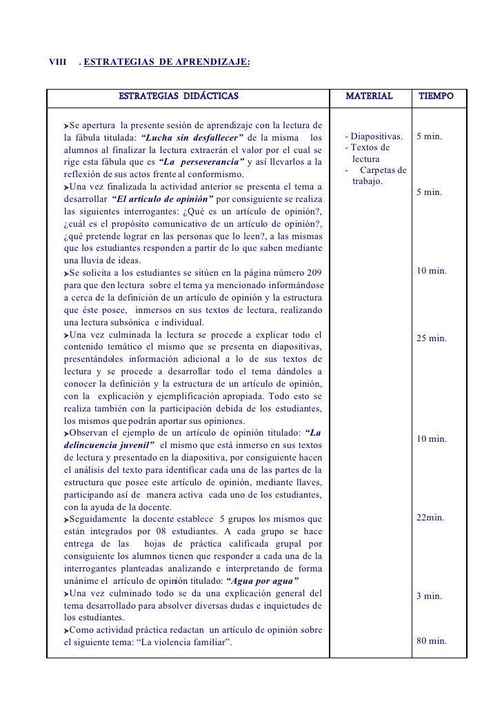 VIII   . ESTRATEGIAS DE APRENDIZAJE:                    ESTRATEGIAS DIDÁCTICAS                                  MATERIAL  ...