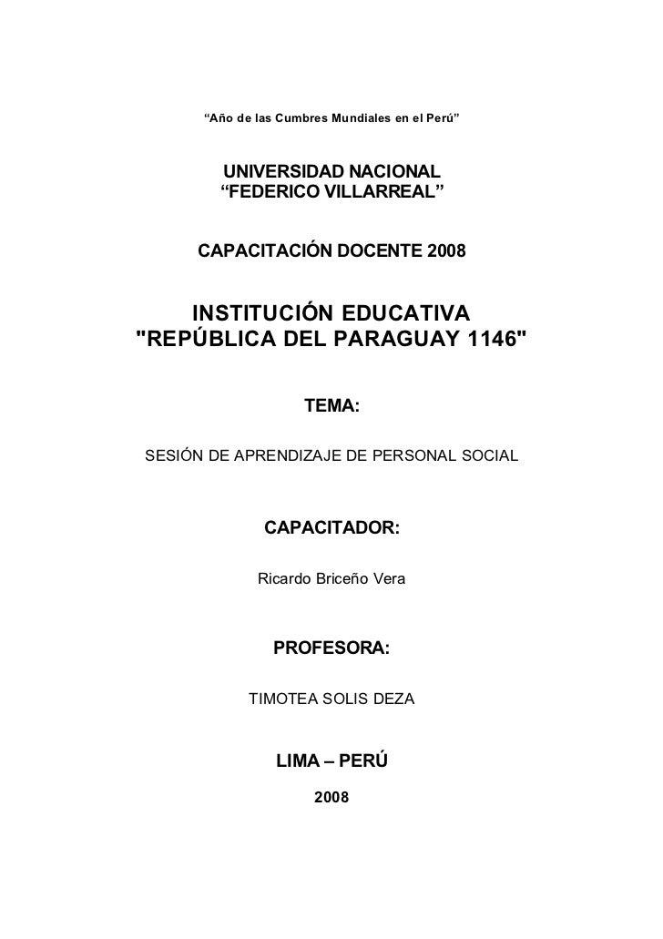 """""""Año de las Cumbres Mundiales en el Perú""""            UNIVERSIDAD NACIONAL         """"FEDERICO VILLARREAL""""        CAPACITACIÓ..."""