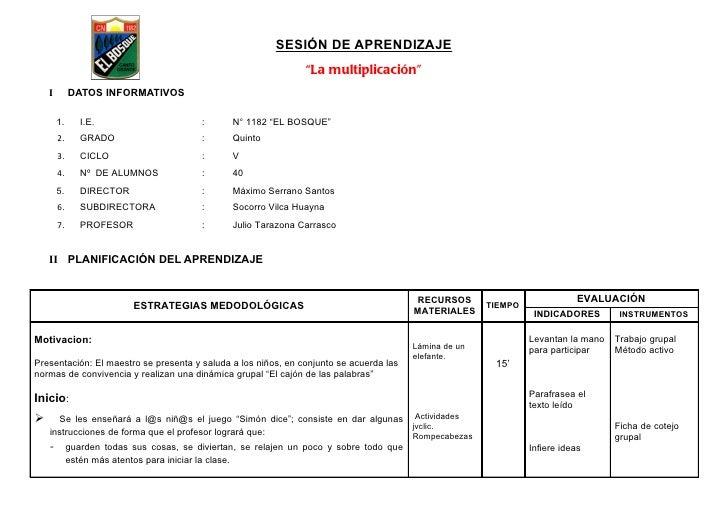 """SESIÓN DE APRENDIZAJE                                                                 """"La multiplicación""""    I        DATO..."""