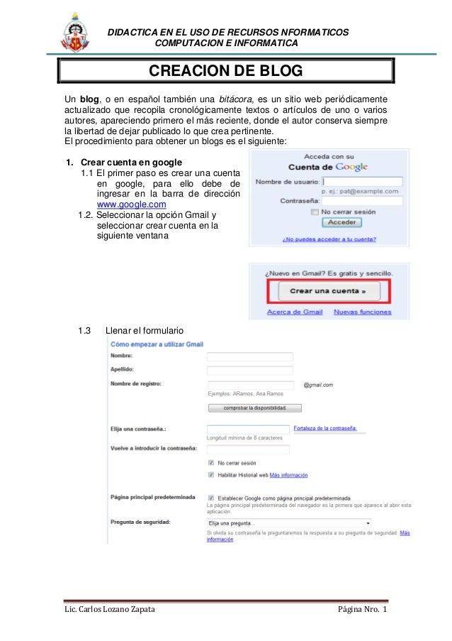 DIDACTICA EN EL USO DE RECURSOS NFORMATICOS COMPUTACION E INFORMATICA  CREACION DE BLOG Un blog, o en español también una ...