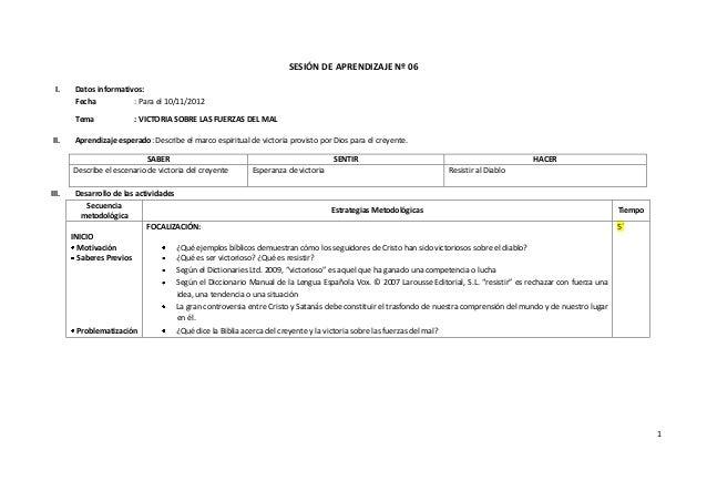 SESIÓN DE APRENDIZAJE Nº 06 I.     Datos informativos:        Fecha           : Para el 10/11/2012        Tema            ...