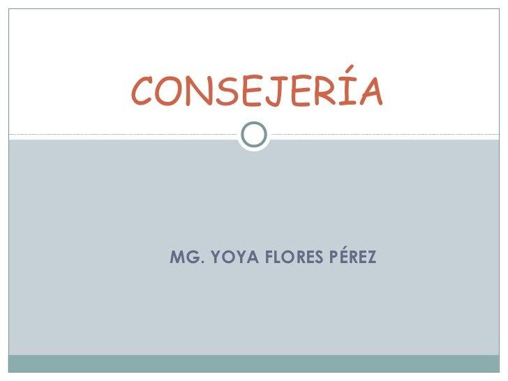 CONSEJERÍA MG. YOYA FLORES PÉREZ