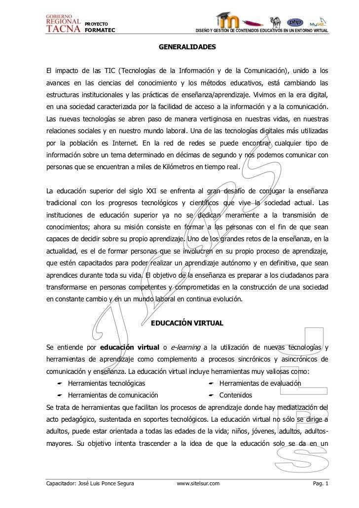 PROYECTO               FORMATEC                            DISEÑO Y GESTIÓN DE CONTENIDOS EDUCATIVOS EN UN ENTORNO VIRTUAL...