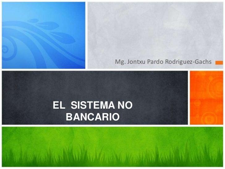 Mg. Jontxu Pardo Rodriguez-GachsEL SISTEMA NO  BANCARIO