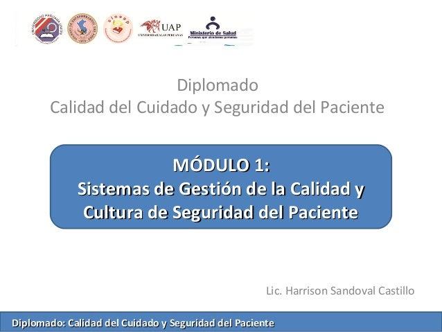 Diplomado Calidad del Cuidado y Seguridad del Paciente Lic. Harrison Sandoval Castillo MÓDULO 1:MÓDULO 1: Sistemas de Gest...