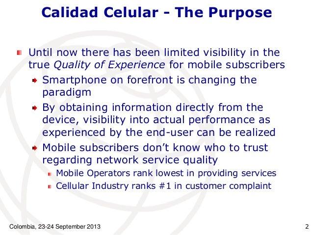 Aplicación Calidad Celular:  Caso Colombiano Slide 2