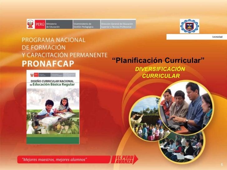 """"""" Planificación Curricular"""" DIVERSIFICACIÓN  CURRICULAR UNIVERSIDAD NACIONAL DE PIURA iversidad"""