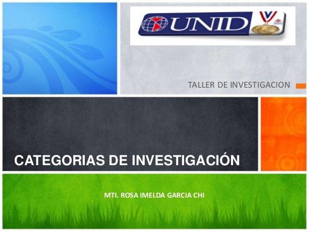 TALLER DE INVESTIGACION CATEGORIAS DE INVESTIGACIÓN MTI. ROSA IMELDA GARCIA CHI