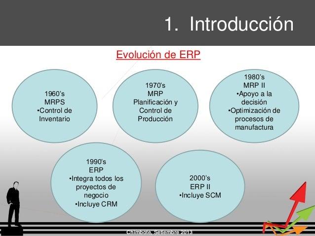1. Introducción Chimbote, Setiembre 2013 1960's MRPS •Control de Inventario 1970's MRP Planificación y Control de Producci...